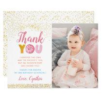 Gold Glitter Girl Donut Birthday Photo Thank You Invitation