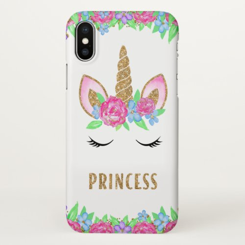 Gold Glitter Girly Pink Flowers Unicorn Princess Phone Case