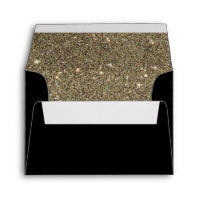 gold glitter glam black invitation envelope