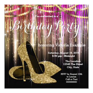 Gold Glitter Glam High Heel Shoe Birthday Party Card