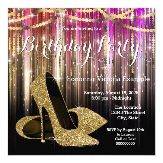 4a18aabbee Gold Glitter Glam High Heel Shoe Birthday Party Invitation