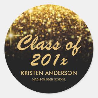 Gold Glitter Glam Sparkle Class of 2017 Graduation Classic Round Sticker