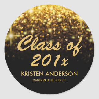 Gold Glitter Glam Sparkle Class of 2018 Graduation Classic Round Sticker