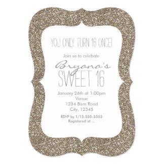 Gold Glitter Glam Sweet 16 Birthday Invitations