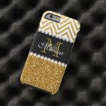 Gold Glitter Glam White Chevron Monogrammed Tough iPhone 6 Case