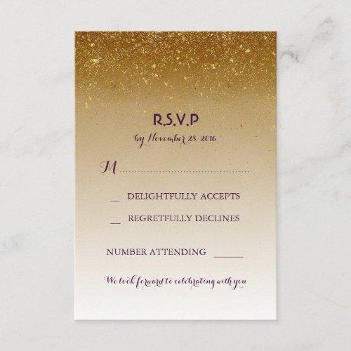 Gold Glitter Glam White Wedding RSVP Cards