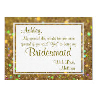 Gold Glitter Glam Will You Be My Bridesmaid 5x7 Paper Invitation Card