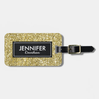 Gold Glitter Glam Womens Travel Bag Tag