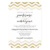 Gold Glitter Glamour Chevron Wedding Invitation