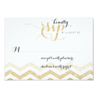 Gold Glitter Glamour Chevron Wedding RSVP Card