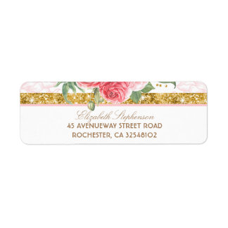 Gold Glitter Glamour Vintage Floral Pink Wedding Label