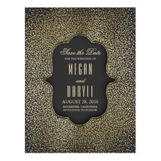 Gold Glitter Glamour Vintage Save the Date Postcard