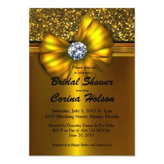 Gold Glitter Gold Bow Bridal Shower Invitations