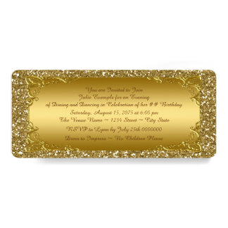 Gold Glitter Golden Ticket Party Card