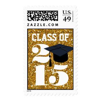 Gold Glitter Grad Cap Class of 2015 Stamp