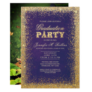 Glitter Graduation Invitations Announcements Zazzle
