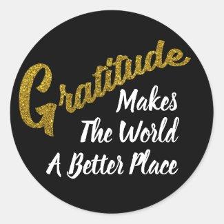 Gold Glitter Gratitude Typography Classic Round Sticker
