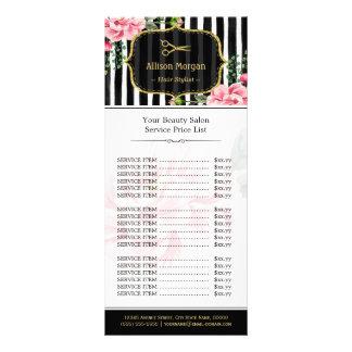 Gold Glitter Hair Salon Pink Floral Price List Rack Card