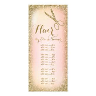 Gold Glitter Hair Salon Rack Card