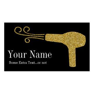 Gold Glitter Hairdresser Salon Black Double-Sided Standard Business Cards (Pack Of 100)