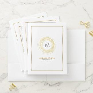 Gold Glitter Hand Painted Circle Designer Logo Pocket Folder