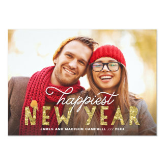 Gold Glitter Happiest New Year Holiday Photo Card