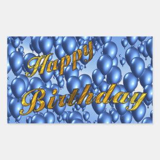 Gold Glitter Happy Birthday Rectangular Sticker