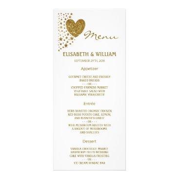 Valentines Themed Gold Glitter Heart and Stars Wedding Menu