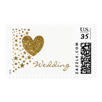 Gold Glitter Heart and Stars Wedding Postage