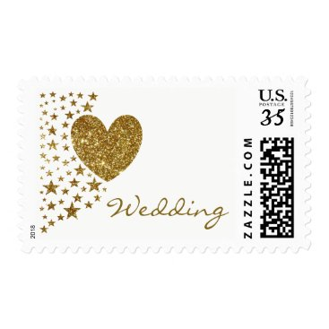 Valentines Themed Gold Glitter Heart and Stars Wedding Postage