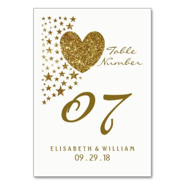 Valentines Themed Gold Glitter Heart and Stars Wedding Table No. Card