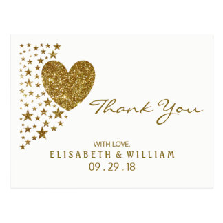 Gold Glitter Heart and Stars Wedding Thank You Postcard
