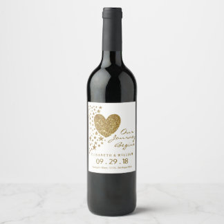 Gold Glitter Heart and Stars Wedding Wine Label