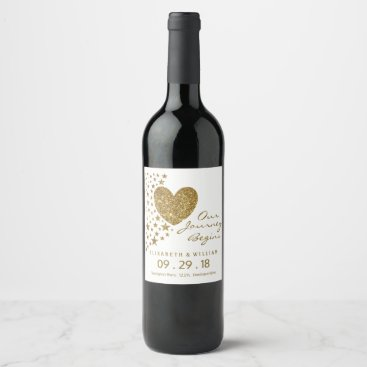 Valentines Themed Gold Glitter Heart and Stars Wedding Wine Label
