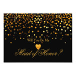 Gold Glitter Heart Faux maid of honor Card