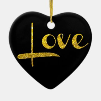 *~* Gold Glitter Heart Love Ornament