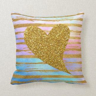 Gold Glitter Heart Throw Pillow