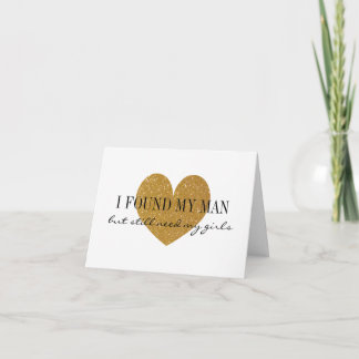 Gold glitter heart Will you be my bridesmaid cards