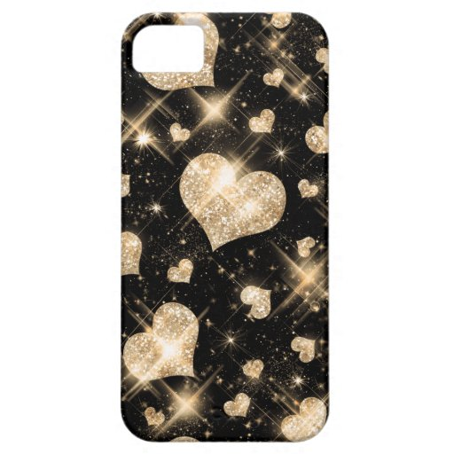 Gold Glitter Hearts iPhone 5 Case