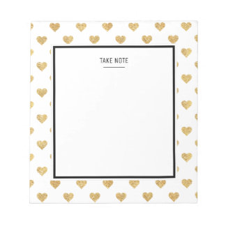 Gold glitter hearts notepad