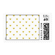 Gold Glitter Hearts Pattern Postage