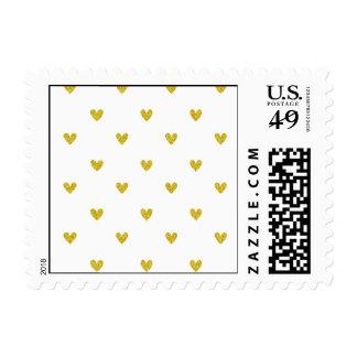 Gold Glitter Hearts Pattern Postage Stamp