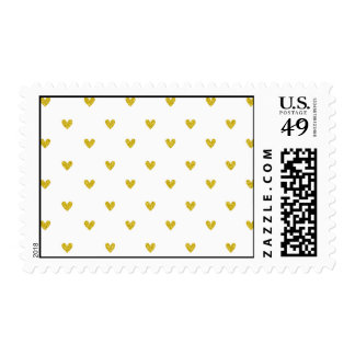 Gold Glitter Hearts Pattern Postage Stamp