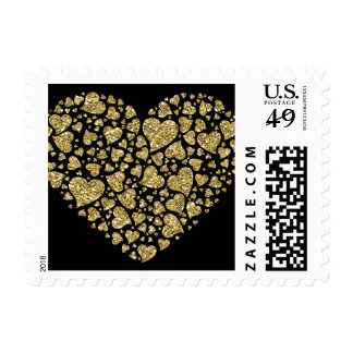 Gold Glitter Hearts Postage