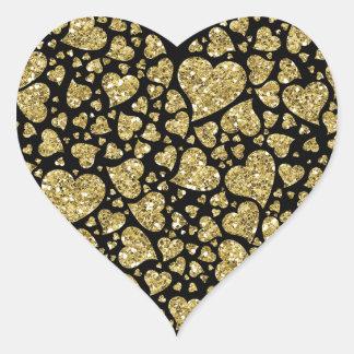 Gold Glitter Hearts Heart Sticker