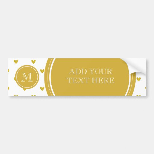Gold Glitter Hearts with Monogram Bumper Stickers