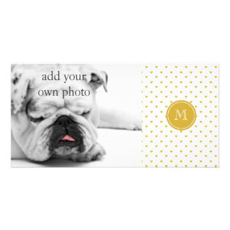 Gold Glitter Hearts with Monogram Card
