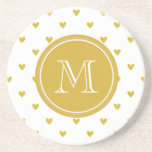 Gold Glitter Hearts with Monogram Beverage Coasters