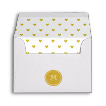 Gold Glitter Hearts with Monogram Envelope
