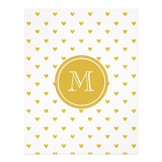 Gold Glitter Hearts with Monogram Custom Flyer
